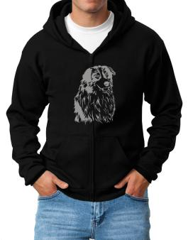 Australian Shepherd Face Special Graphic Zip Hoodie - Mens