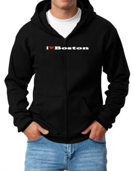 I Love Boston Zip Hoodie - Mens