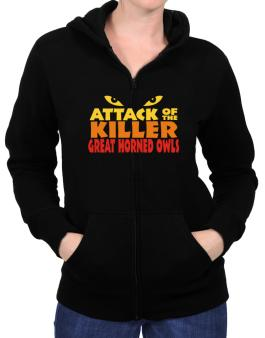 Attack Of The Killer Great Horned Owls Zip Hoodie - Womens