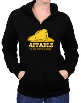 Affable Is My Middle Name Zip Hoodie - Womens