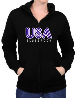 Usa Blues Rock Zip Hoodie - Womens