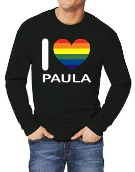 I Love Paula - Rainbow Heart Long-sleeve T-Shirt