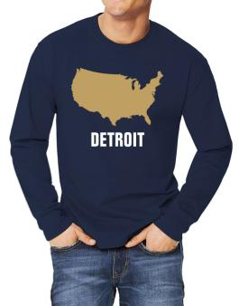 Detroit - Usa Map Long-sleeve T-Shirt
