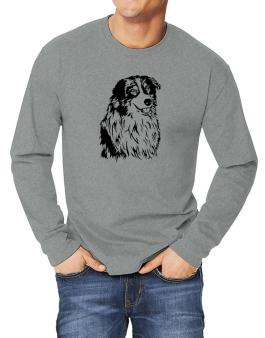 Australian Shepherd Face Special Graphic Long-sleeve T-Shirt