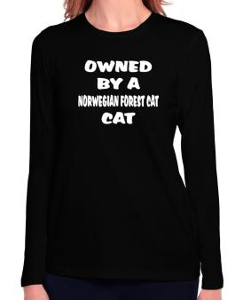 Owned By S Norwegian Forest Cat Long Sleeve T-Shirt-Womens