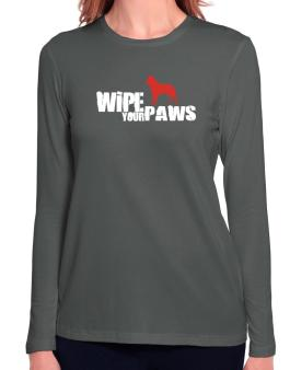 Wipe Your Paws - Belgian Malinois Silhouette Long Sleeve T-Shirt-Womens