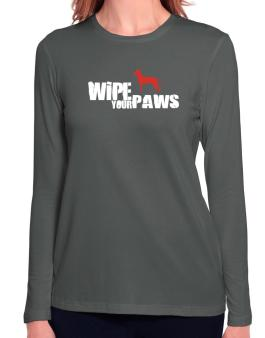 Wipe Your Paws - Peruvian Hairless Dog Silhouette Long Sleeve T-Shirt-Womens