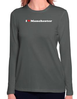 I Love Manchester Long Sleeve T-Shirt-Womens