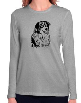 Australian Shepherd Face Special Graphic Long Sleeve T-Shirt-Womens