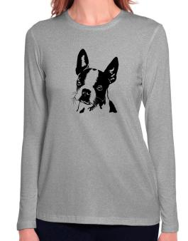 Boston Terrier Face Special Graphic Long Sleeve T-Shirt-Womens