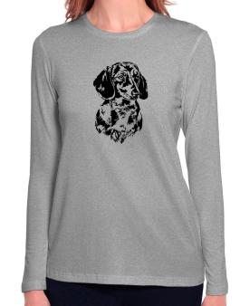Dachshund Face Special Graphic Long Sleeve T-Shirt-Womens
