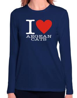 I Love Aegean Cats Long Sleeve T-Shirt-Womens