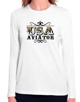 Usa Aviator Long Sleeve T-Shirt-Womens
