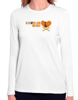 I Love My Belgian Malinois - Bones Long Sleeve T-Shirt-Womens