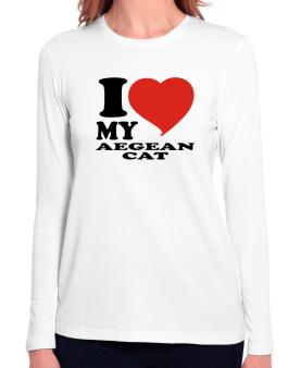 I Love My Aegean Cat Long Sleeve T-Shirt-Womens