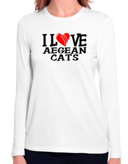 I Love Aegean Cats - Scratched Heart Long Sleeve T-Shirt-Womens