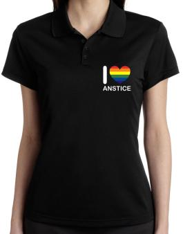 I Love Anstice - Rainbow Heart Polo Shirt-Womens