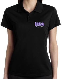 Usa Glitch Polo Shirt-Womens