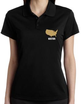 Boston - Usa Map Polo Shirt-Womens