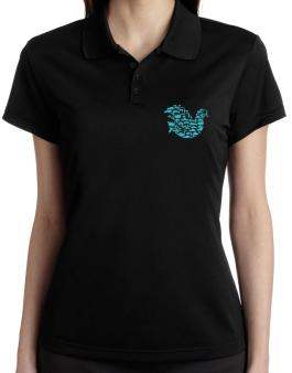 War Dove Collage Polo Shirt-Womens