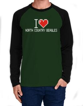I love North Country Beagles pixelated Long-sleeve Raglan T-Shirt