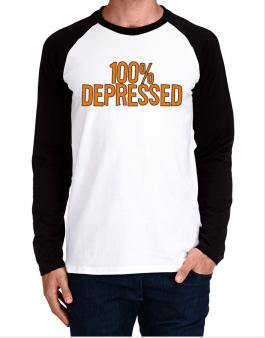 100% Depressed Long-sleeve Raglan T-Shirt