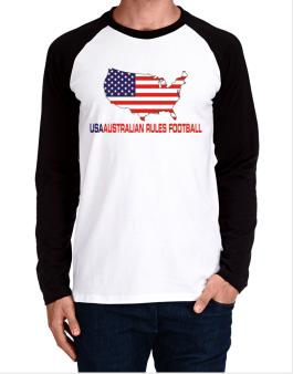 Usa Australian Rules Football / Map Long-sleeve Raglan T-Shirt