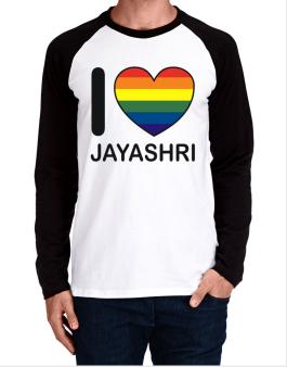 I Love Jayashri - Rainbow Heart Long-sleeve Raglan T-Shirt