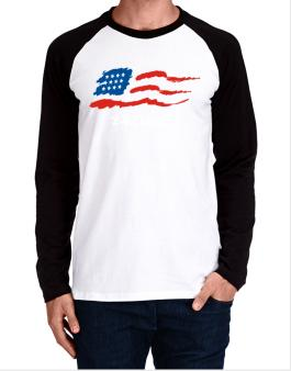 Detroit - Us Flag Long-sleeve Raglan T-Shirt
