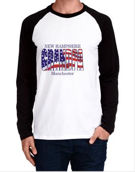 Grandpa Manchester - Us Flag Long-sleeve Raglan T-Shirt