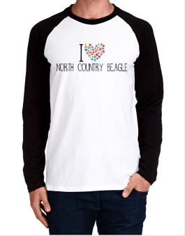 I love North Country Beagle colorful hearts Long-sleeve Raglan T-Shirt