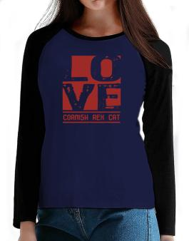 Love Cornish Rex T-Shirt - Raglan Long Sleeve-Womens