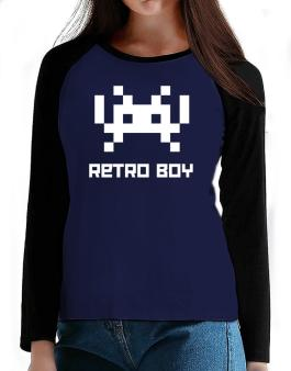 Retro Boy T-Shirt - Raglan Long Sleeve-Womens