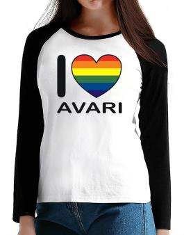 I Love Avari - Rainbow Heart T-Shirt - Raglan Long Sleeve-Womens