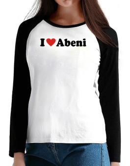 I Love Abeni T-Shirt - Raglan Long Sleeve-Womens