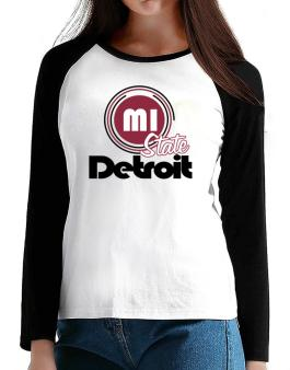 Detroit - State T-Shirt - Raglan Long Sleeve-Womens