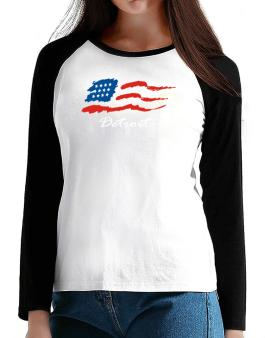 Detroit - Us Flag T-Shirt - Raglan Long Sleeve-Womens