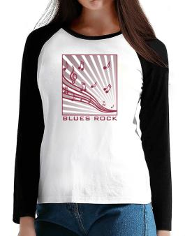 Blues Rock - Musical Notes T-Shirt - Raglan Long Sleeve-Womens