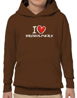 I love Broholmers chalk style Hoodie-Boys