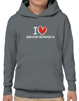 I love Grand Basset Griffon Vendéen chalk style Hoodie-Boys