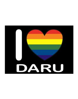 I Love Daru - Rainbow Heart Sticker