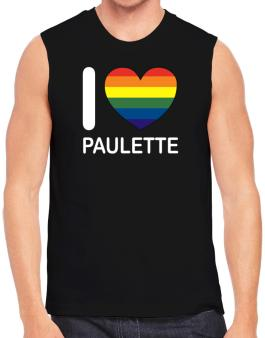 I Love Paulette - Rainbow Heart Sleeveless