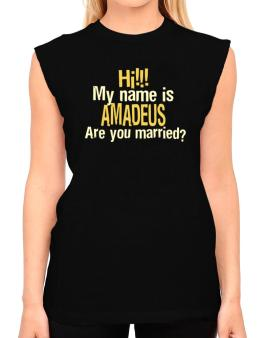Hi My Name Is Amadeus Are You Married? T-Shirt - Sleeveless-Womens