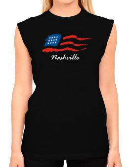 Nashville - Us Flag T-Shirt - Sleeveless-Womens