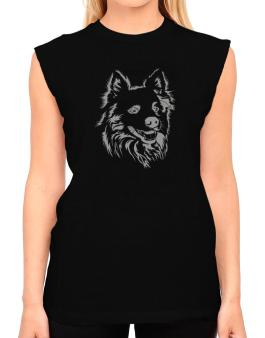 American Eskimo Dog Face Special Graphic T-Shirt - Sleeveless-Womens