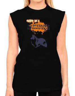 Owned By A Shetland Sheepdog T-Shirt - Sleeveless-Womens