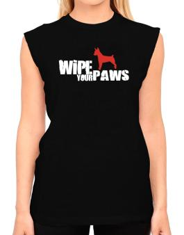 Wipe Your Paws - Rat Terrier Silhouette T-Shirt - Sleeveless-Womens
