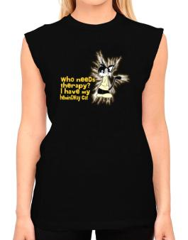 Who Needs Therapy? I Have My Hemingway Cat T-Shirt - Sleeveless-Womens