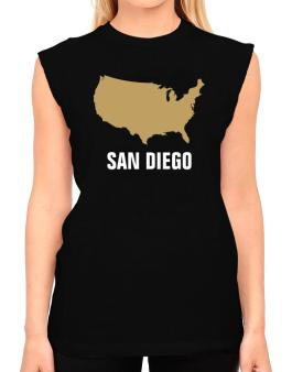 San Diego - Usa Map T-Shirt - Sleeveless-Womens