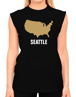 Seattle - Usa Map T-Shirt - Sleeveless-Womens